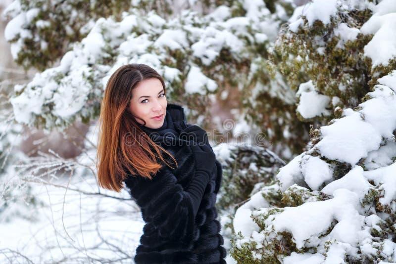 Jolie fille dans un manteau de fourrure images libres de droits