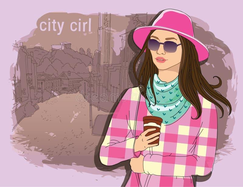 Jolie fille de mode dans le style de croquis sur un fond de ville de rue Illustrateur de vecteur aspiration de main, conception d illustration libre de droits