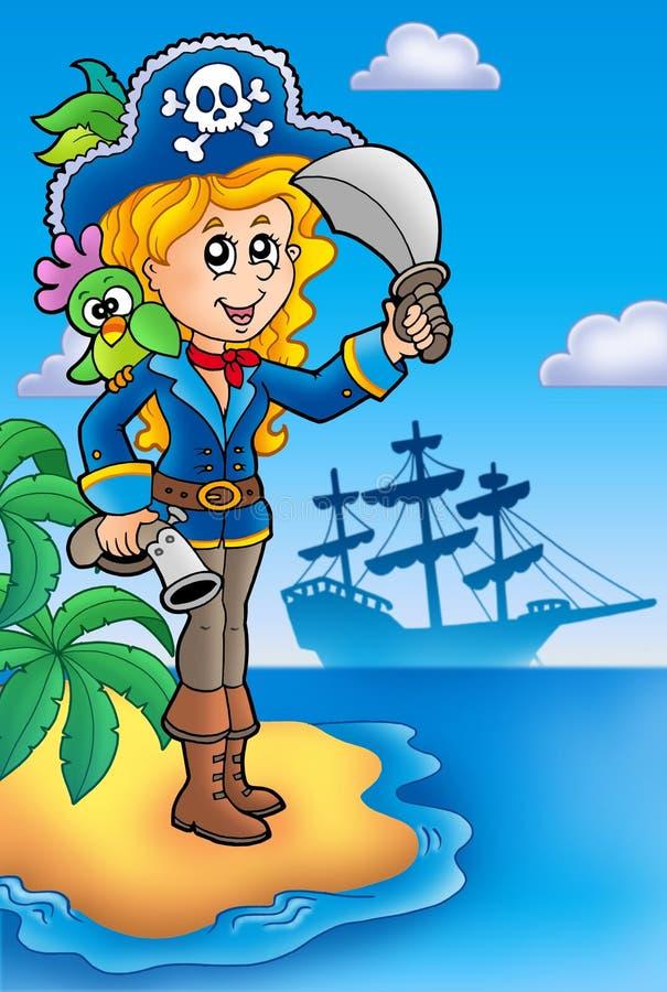 Jolie fille de pirate sur l'île illustration stock