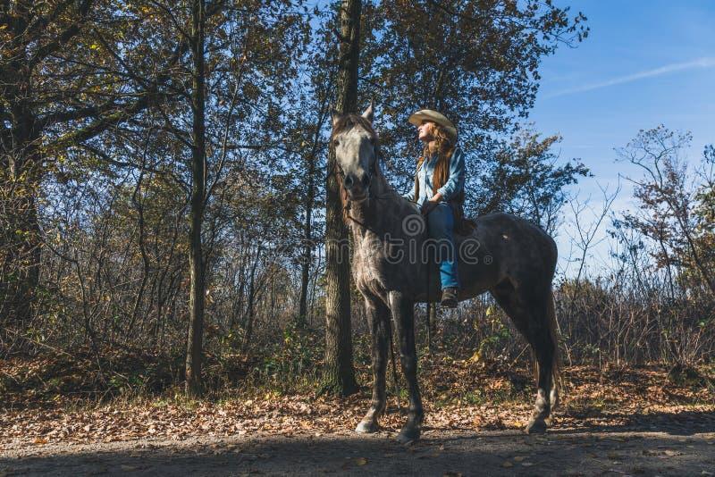 Jolie fille montant son cheval gris image stock