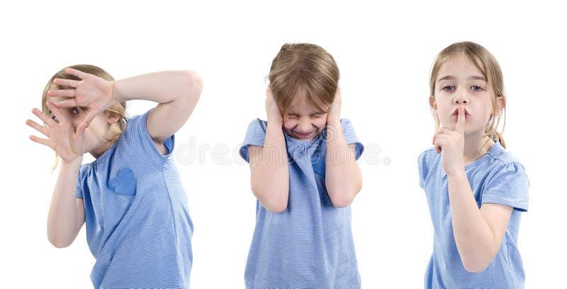Fille montrant différentes émotions image libre de droits