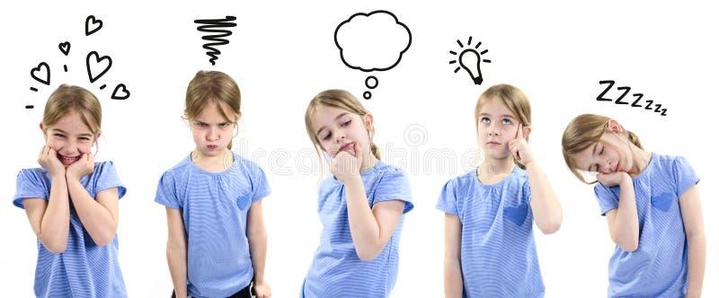 Fille montrant différentes émotions images stock