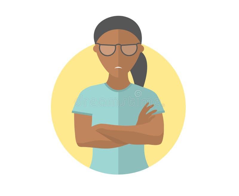 Jolie fille noire renfrognée et sombre en verres, femme offensée Icône plate de conception Émotion sombre et déprimée Simplement  illustration de vecteur
