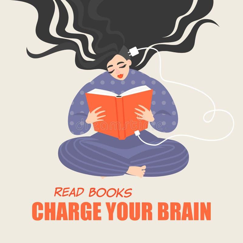 Jolie fille reposant et lisant un livre Une image conceptuelle des avantages de la lecture pour le développement de cerveau illustration stock