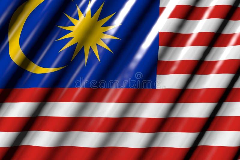 Jolie illustration du drapeau 3d de vacances - brillant - ressemblant au drapeau en plastique de la Malaisie avec de grands plis illustration de vecteur