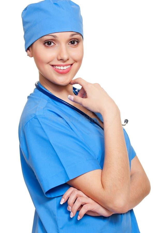 Jolie infirmière dans l'uniforme bleu photo libre de droits