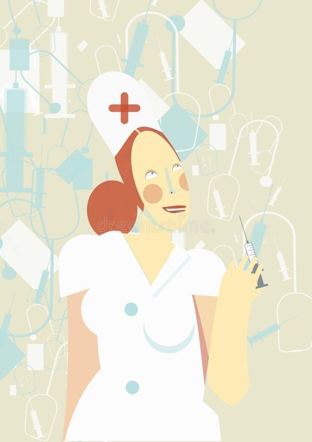 Jolie infirmière tenant une seringue illustration de vecteur