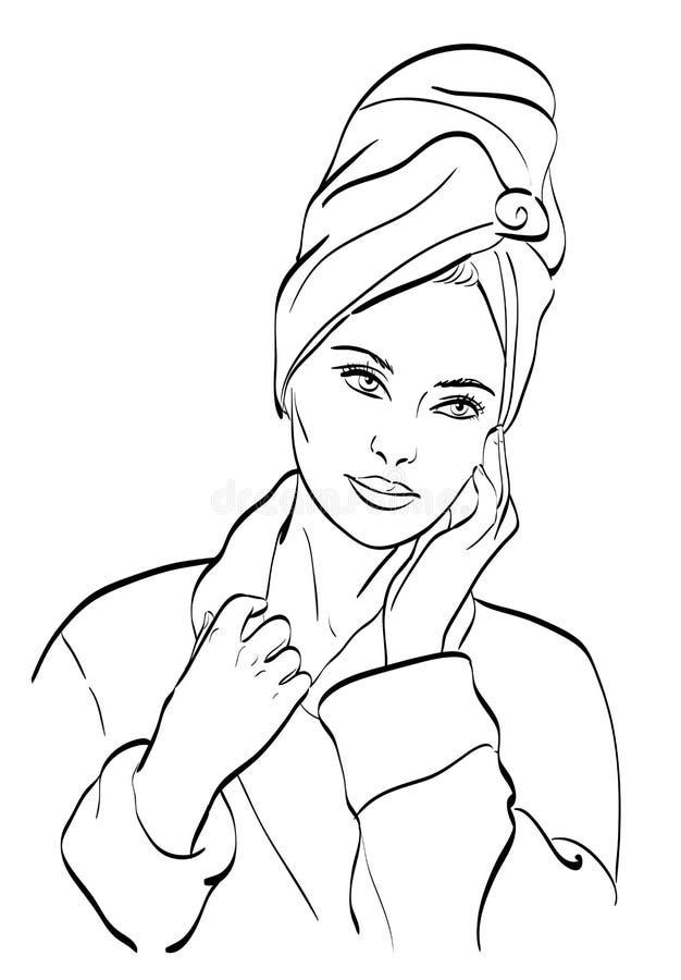 Femme Dans Sa Salle De Bains Illustration Stock