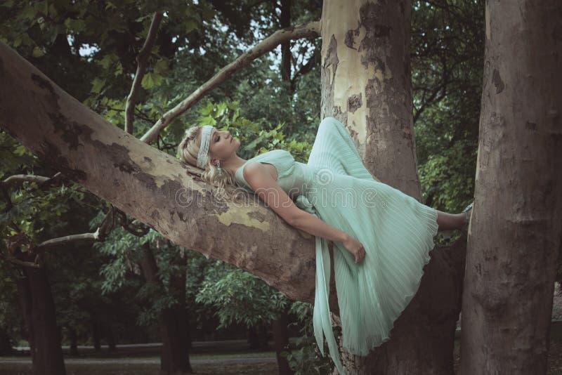 Jolie jeune femme dans le mensonge romantique de robe le jour d'été d'arbre photos stock
