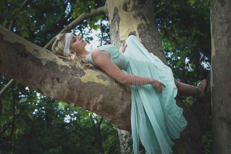 Jolie jeune femme dans le mensonge romantique de robe le jour d'été d'arbre images stock