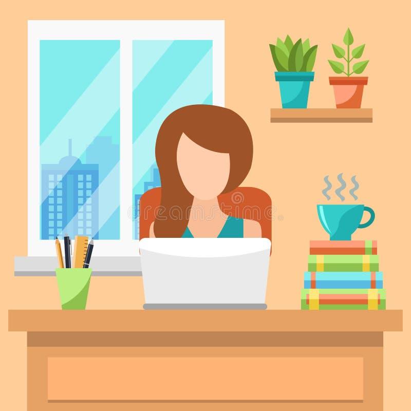 Jolie jeune femme travaillant au concept de bureau illustration de vecteur
