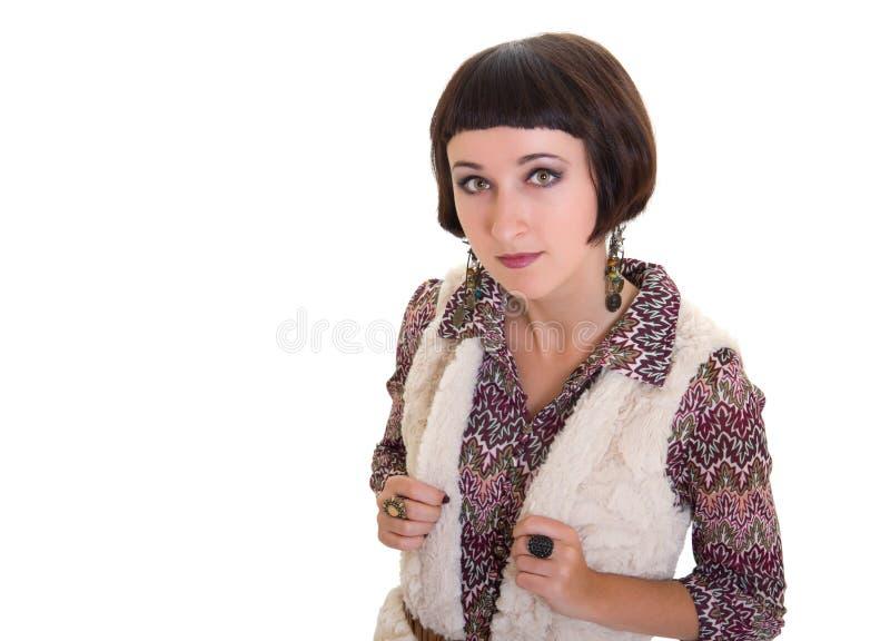 Jolie jupe de fixation de femme de brunette image libre de droits