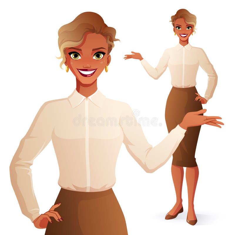 Jolie présentation de sourire de femme d'affaires d'africain noir Illustration d'isolement de vecteur illustration libre de droits