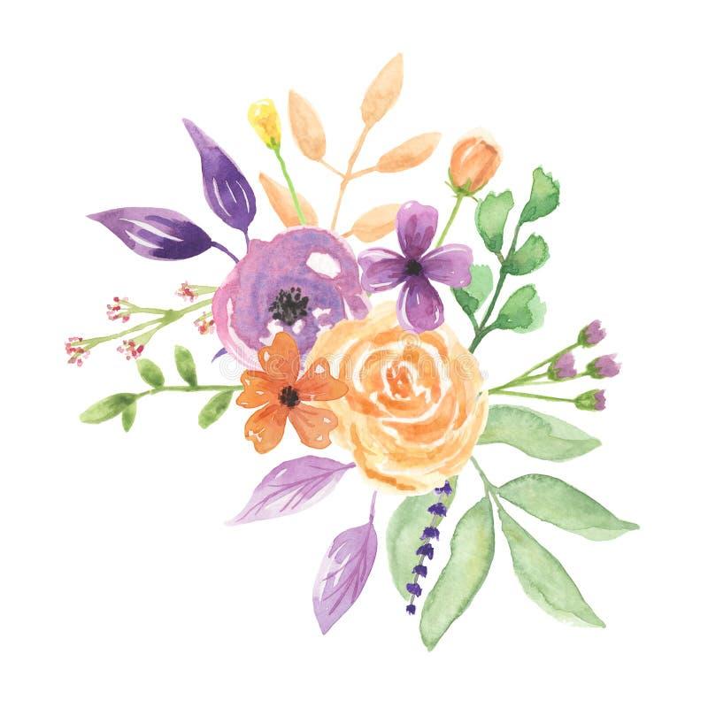 Jolies fleurs de mariage de lavande de disposition pour aquarelle de bouquet floral illustration libre de droits