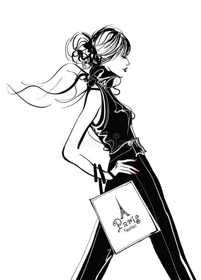 Jolis achats de femme à Paris illustration de vecteur