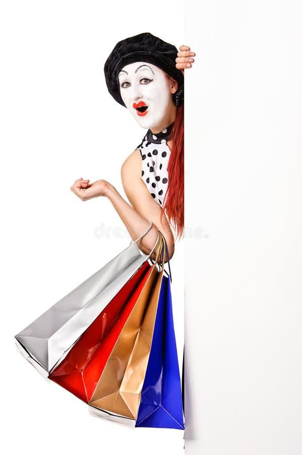 Jolis sacs à provisions de fixation de femme de pantomime photo libre de droits
