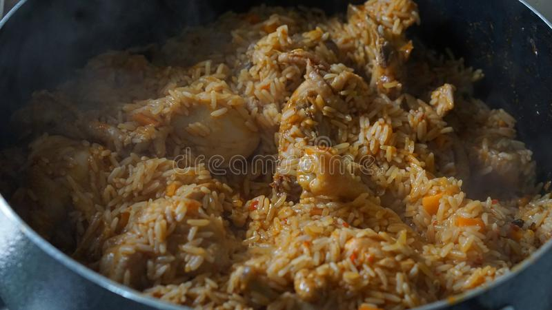 Jollof rice. The food so delicious in Africa royalty free stock photos