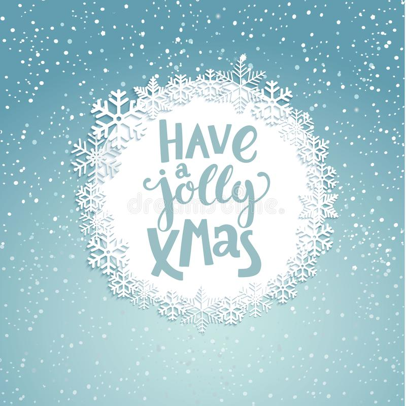 Jolly Christmas Greeting Card. Jolly Christmas greeting card with lettering. Snowfall background. Raster copy stock illustration