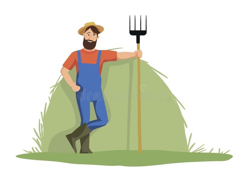 The Jolly farmer is on the background of haystack. And holding a pitchfork royalty free illustration