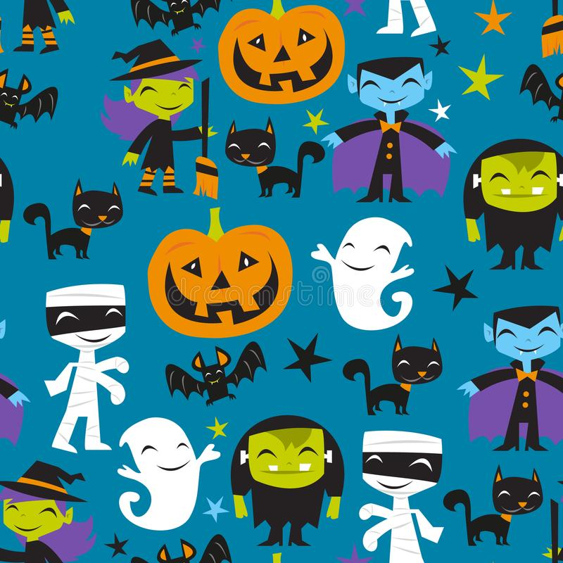Jolly Halloween Monsters Seamless Pattern Background royalty free illustration