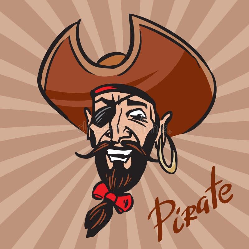 Jolly Pirate-Karikaturkopf in einem Hut stockbilder