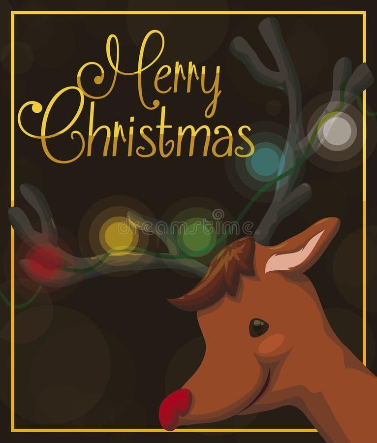 Jolly Reindeer die met Lichten in zijn Hoornen Kerstmisgebeurtenis, Vectorillustratie vieren vector illustratie