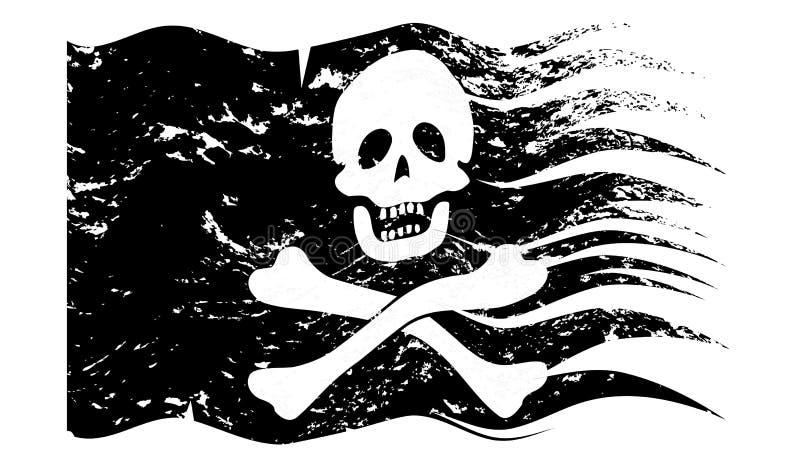 Jolly Rodger Grunged ondulado stock de ilustración