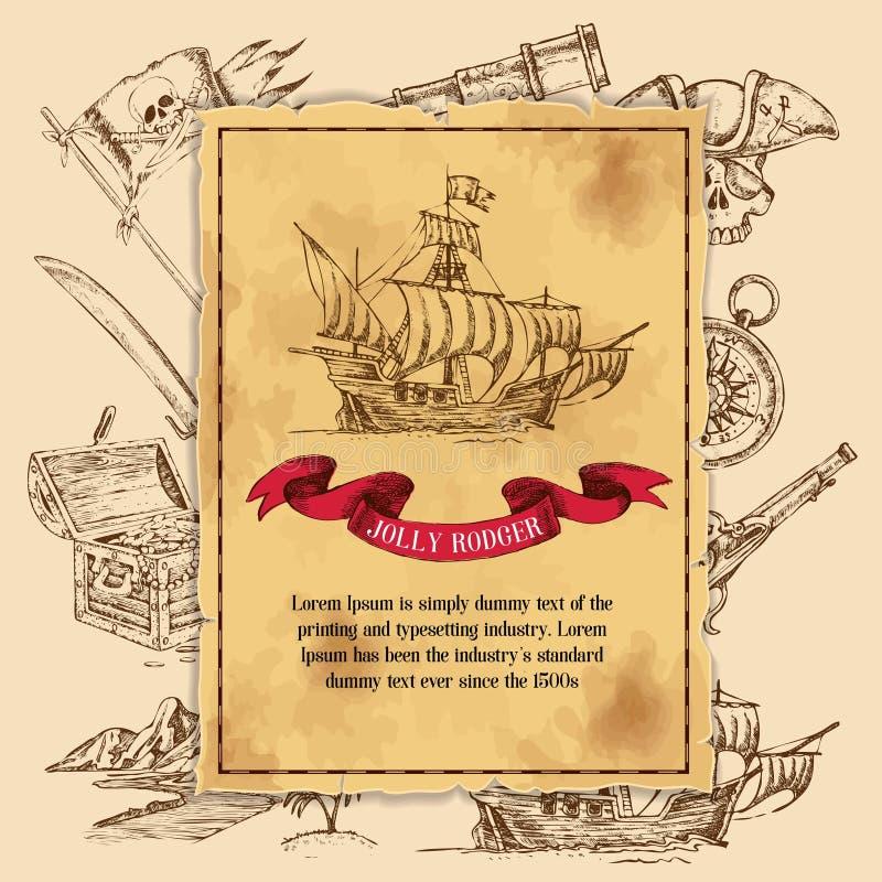 Jolly Rodger Pirate Background ilustración del vector