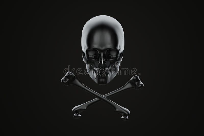 Jolly Roger, crânio e ossos cruzados Contem o trajeto de grampeamento ilustração royalty free