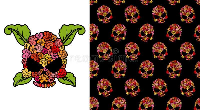 Jolly Roger das rosas Crânio da flor Crânios do teste padrão Illus do vetor ilustração do vetor