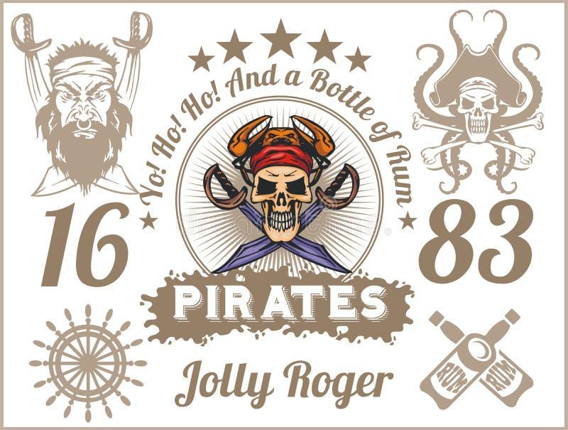 Jolly Roger - elementos do projeto do pirata Grupo do vetor ilustração do vetor