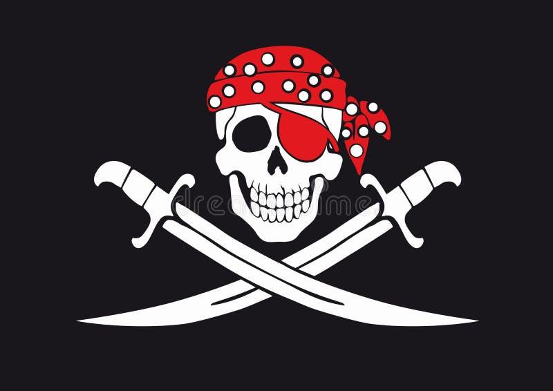 Jolly Roger pirate flag vector illustration