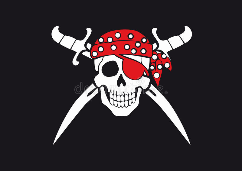 Jolly Roger pirate flag royalty free illustration