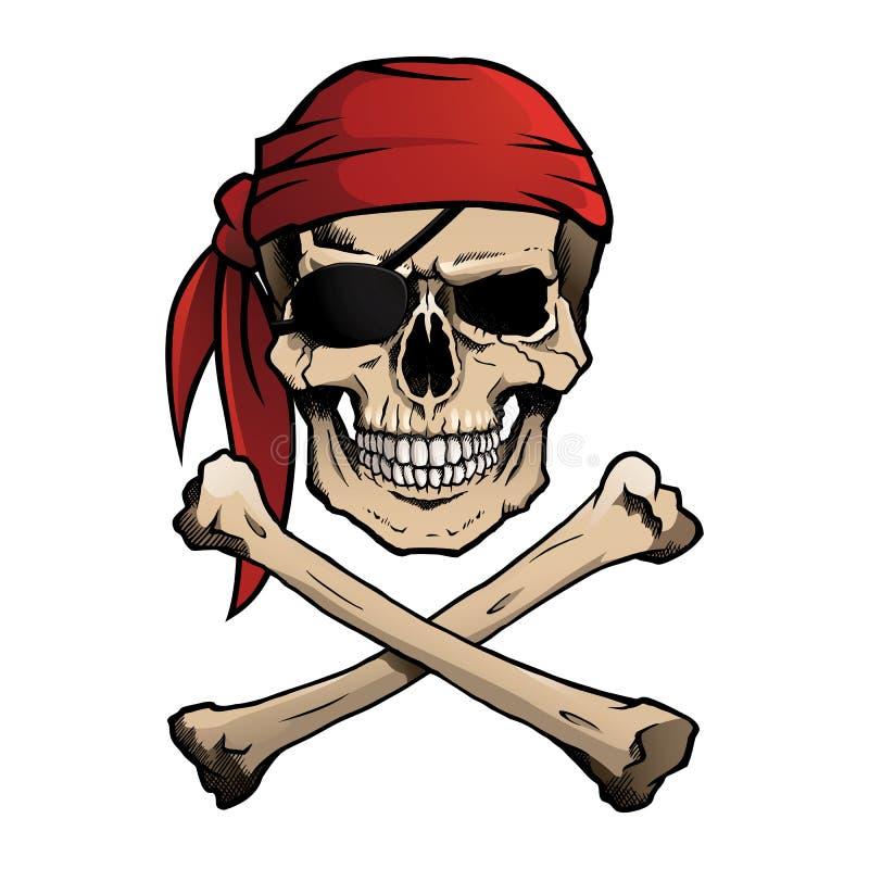 Jolly Roger piratkopierar skallen och korslagda benknotor vektor illustrationer