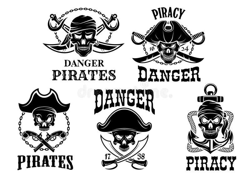 Jolly Roger piratkopierar vektorsymbolsuppsättningen vektor illustrationer