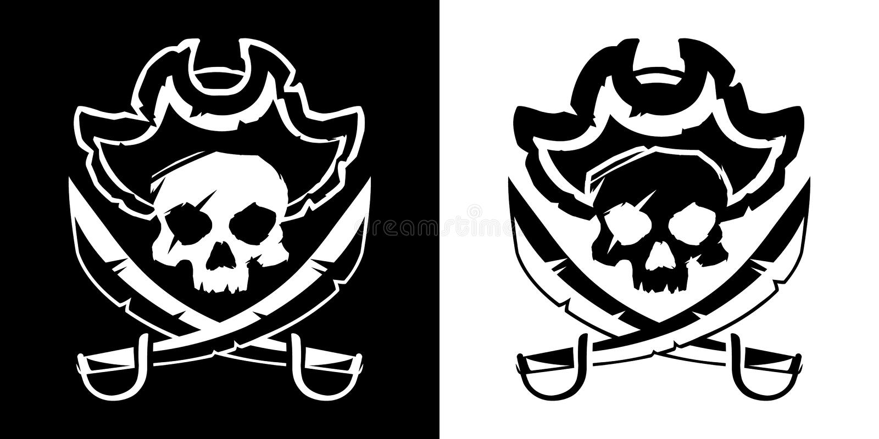 Jolly Roger skalle i en hatt och en korsad svärdsymbolvektor vektor illustrationer