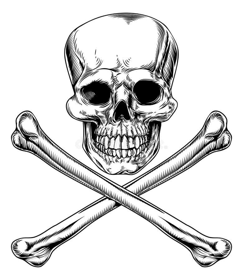 Jolly Roger Skull och korslagda benknotor stock illustrationer