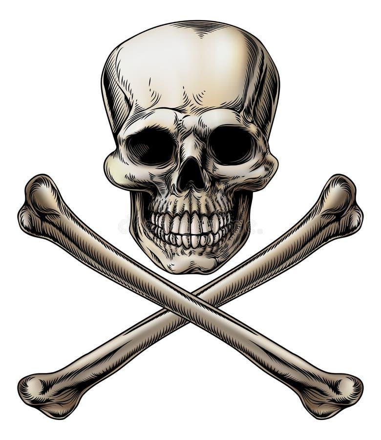 Jolly Roger Skull och korslagda benknotortecken royaltyfri illustrationer