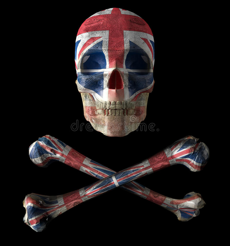 Jolly roguer. 3d illustration of jolly roguer and britain symbol royalty free illustration