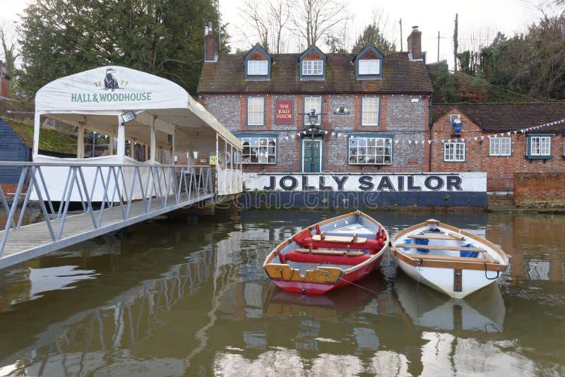 Jolly Sailor op de Rivier Hamble in Bursledon, Hamphshire, het UK royalty-vrije stock fotografie