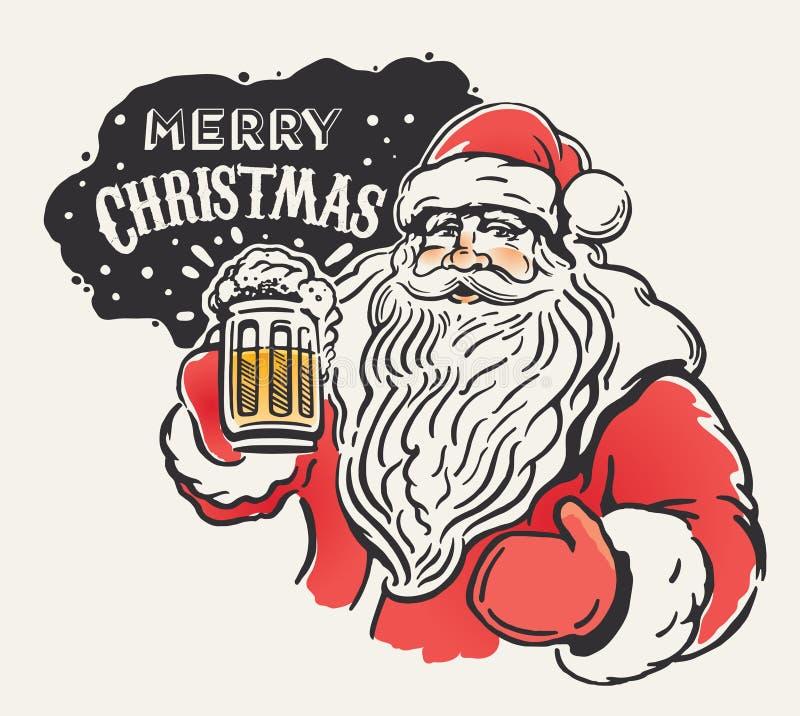 Jolly Santa and beer. stock illustration