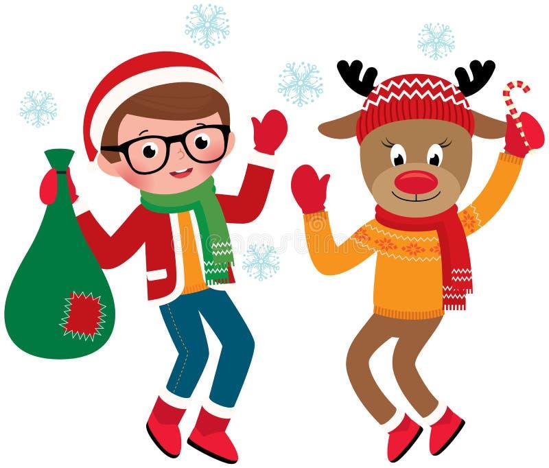 Jolly Santa Claus et renne illustration libre de droits