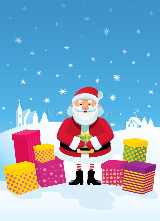 Jolly Santa Claus and gifts vector illustration