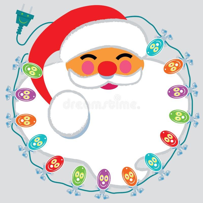 Jolly Santa Claus hace frente rodeado por las luces felices stock de ilustración