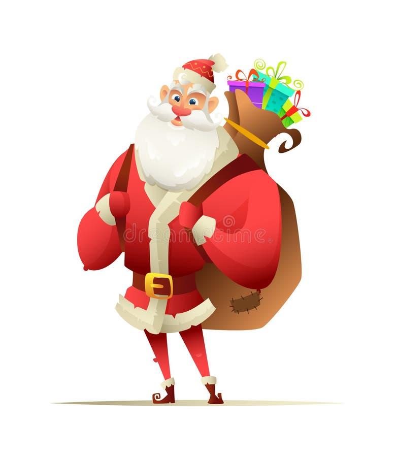 Jolly Santa que coloca y que lleva a cabo detrás el suyo la parte posterior una mochila grande con los regalos de la Navidad libre illustration