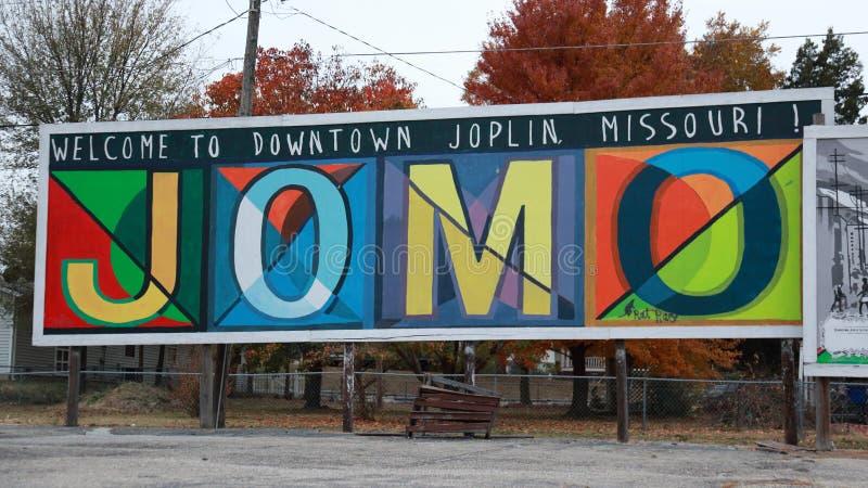 JOMO znak powitalny, Joplin, MO zdjęcia royalty free