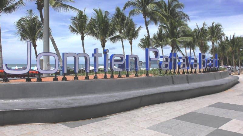 Jomtienstrand Pattaya Begin Nieuw teken stock foto
