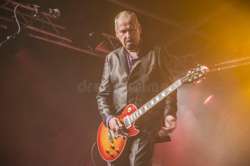 Jon Nichols joue la guitare photographie stock