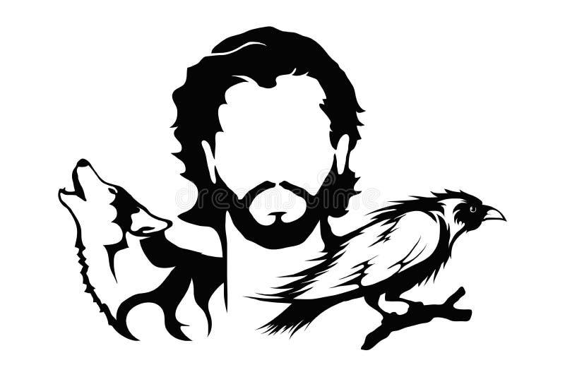 Jon Snow med en varg och en korpsvart illustration Lek av biskopsstolar stock illustrationer
