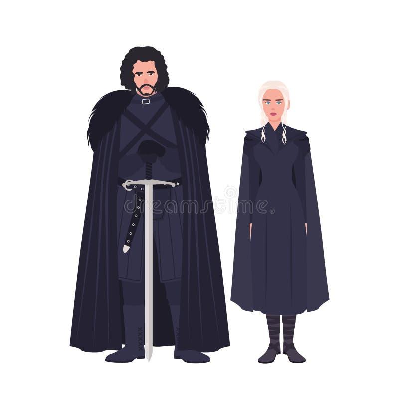 Jon Snow und Daenerys Targaryen kleideten in der schwarzen Kleidung an Spiel von populärstem fiktivem der Throne Roman und der Fe vektor abbildung